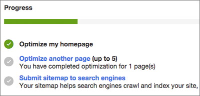 A progress bar confirms that you've optimized your home page.