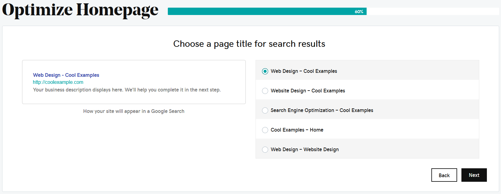 select home page title