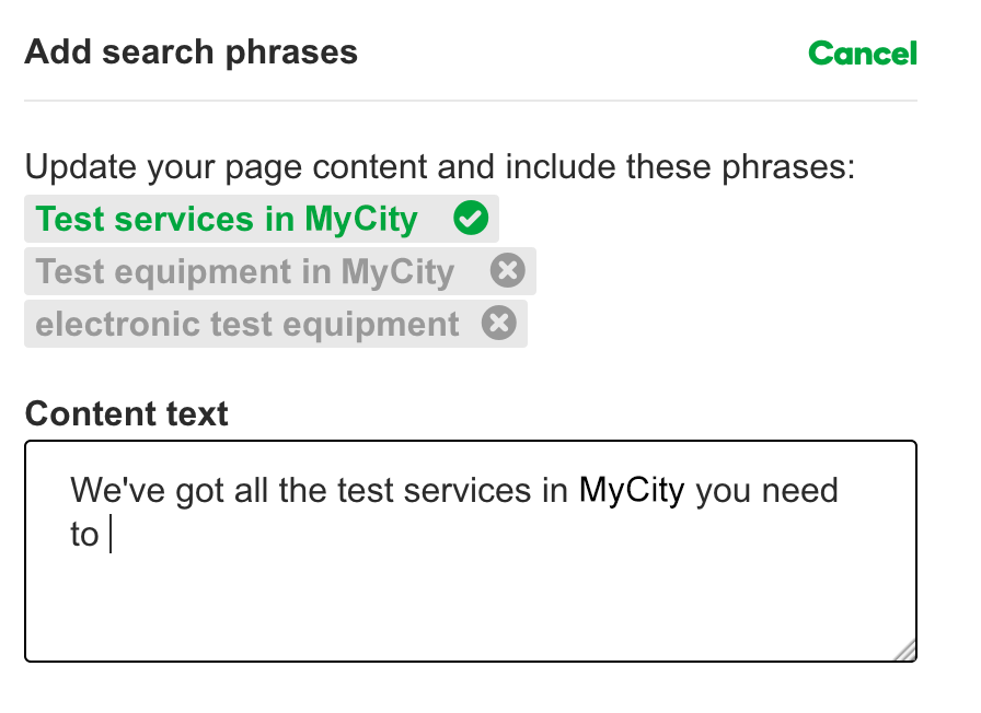 add search phrases to page content