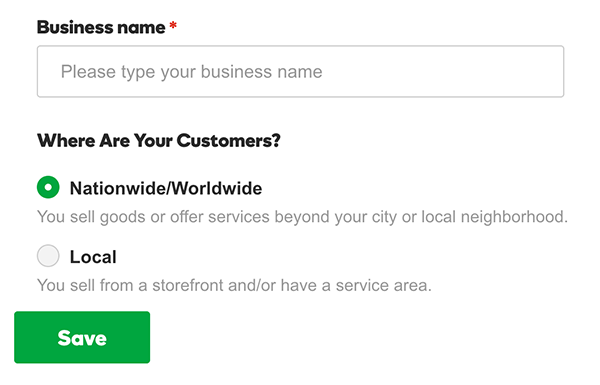 enter business name and location