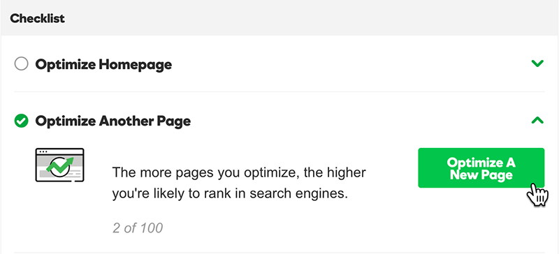 click optimize a new page