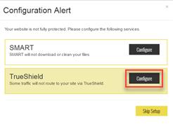 TrueShield Configuration Alert dialog