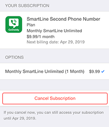 Tap Cancel Subscription