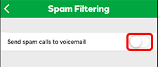 Send spam to voicemail