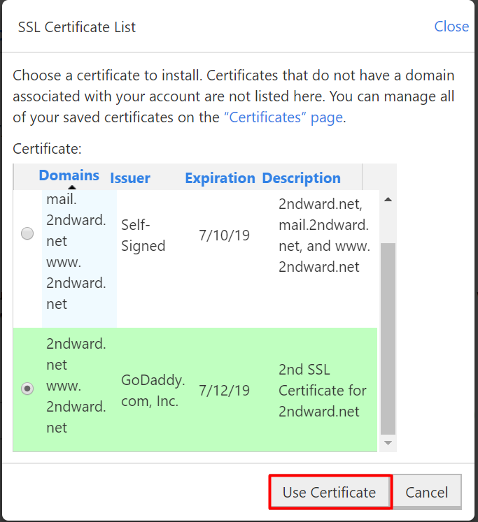 use certificate
