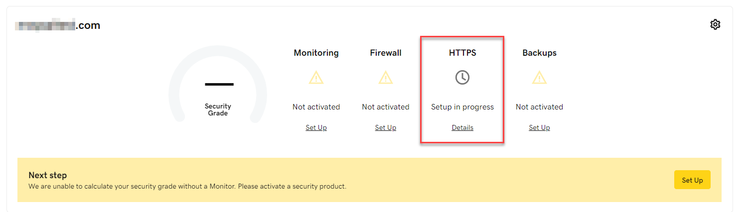 Domain security status with HTTPS section circled.