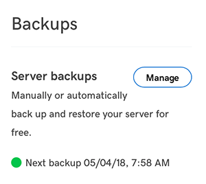 fai clic su gestisci per visualizzare i file di backup