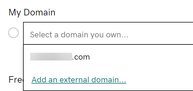 Select a domain you already own