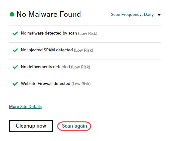 Страница мониторинга Расположение кнопки Scan Again