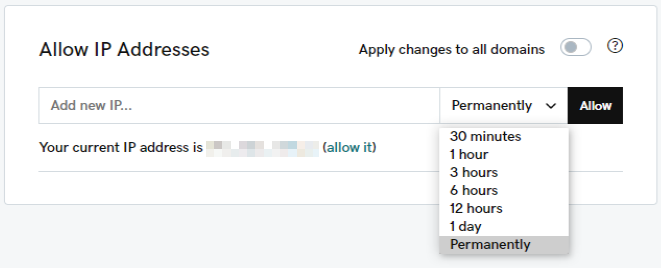 Allow IP Addresses add an IP...