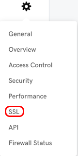gear icon, then SSL