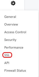 ikonę koła zębatego, a następnie certyfikat SSL