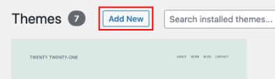 Agregar nuevo tema en WordPress