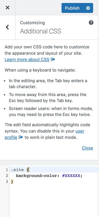 Phần CSS bổ sung trong công cụ tùy chỉnh WordPress