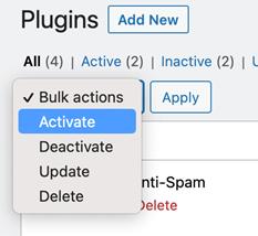 Activar y desactivar complementos desde el panel de control de WordPress