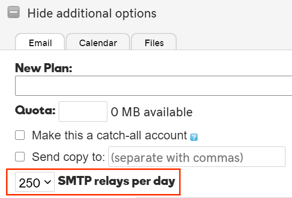 250 SMTP relays per day