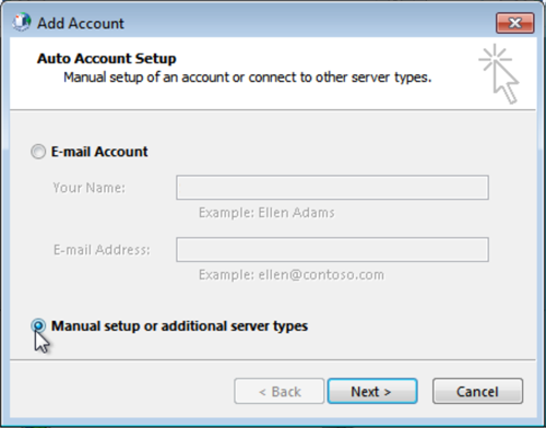 Select Manual setup or additional server types, click Next