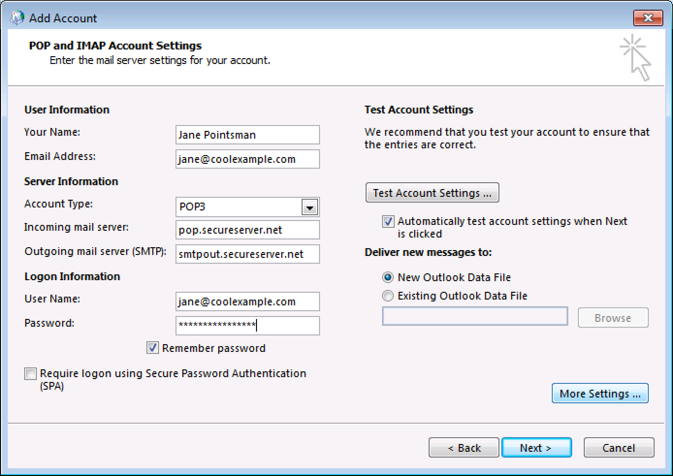 Outlook 2010 manually set up email workspace email - Office 365 server settings for outlook 2010 ...