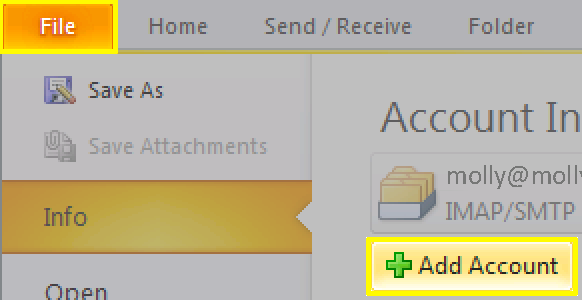 Click File, click Add Account
