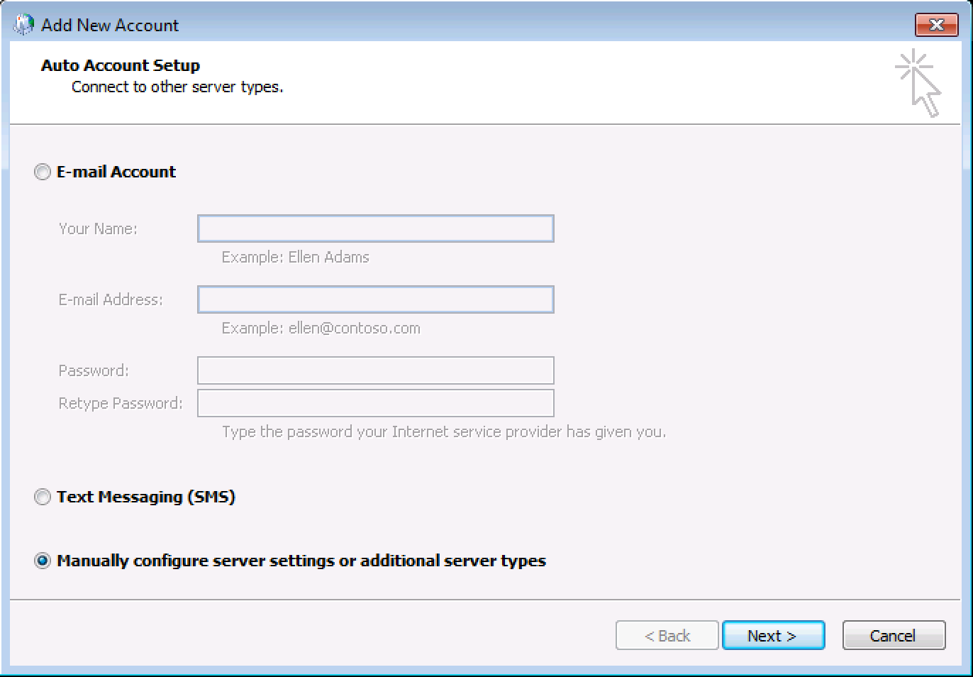 Select Manually configure server settings or additional server types, click Next