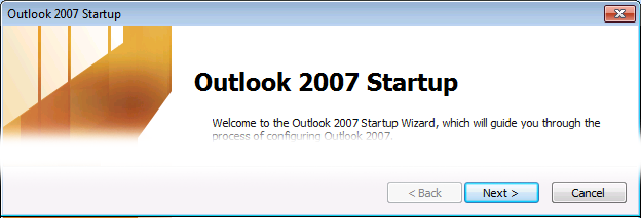 Outlook 2007 welcome screen, click Next