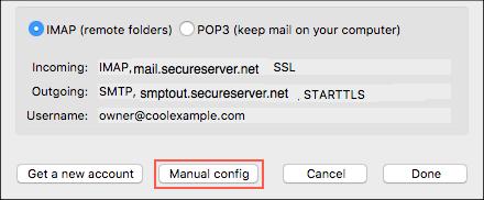 Klikk på manuell konfigurering