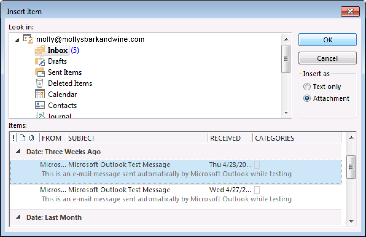 Outlook 2013: Forward email messages as attachments