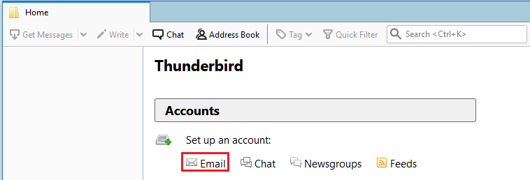 Click email under Create a new account