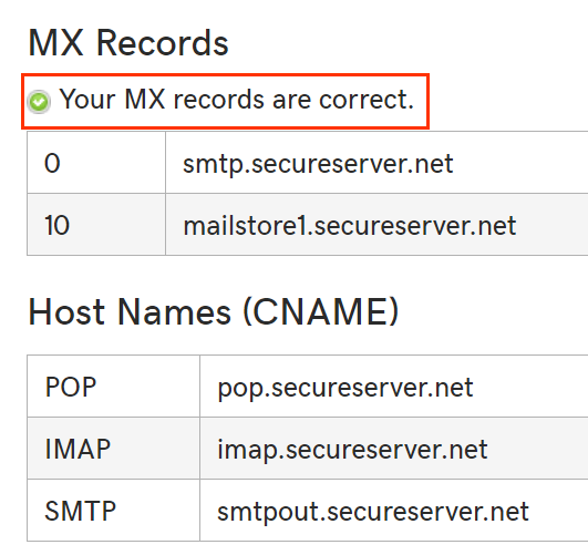 MX Records showing MX records are correct