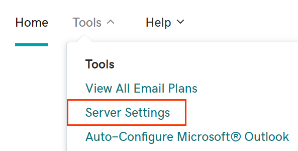 Tool menu opened with Server Settings choice below