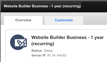 Website Builder Server IP display