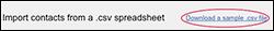 Click Download a sample csv file