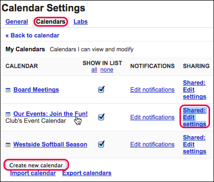 Use existing calendar or create new one