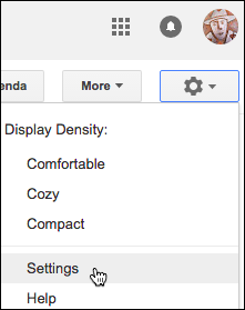 Click gear and choose Settings