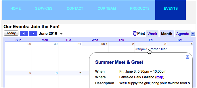 Your Google Calendar displays in Website Builder