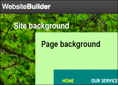 Your site's background surrounds the pageBackground button