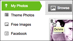 In the My Photos list, click the trash can in a photo thumbnail.