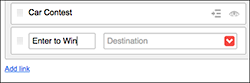 Use the Destination menu or field to link the menu item to a page