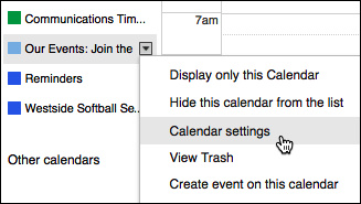 Choose calendar settings