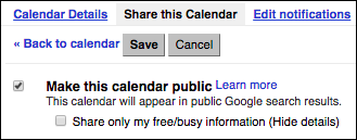 Check Make this calendar public