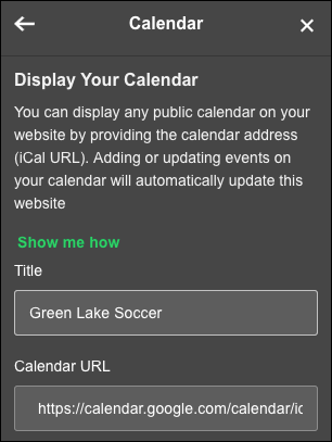 Change title and iCal URL